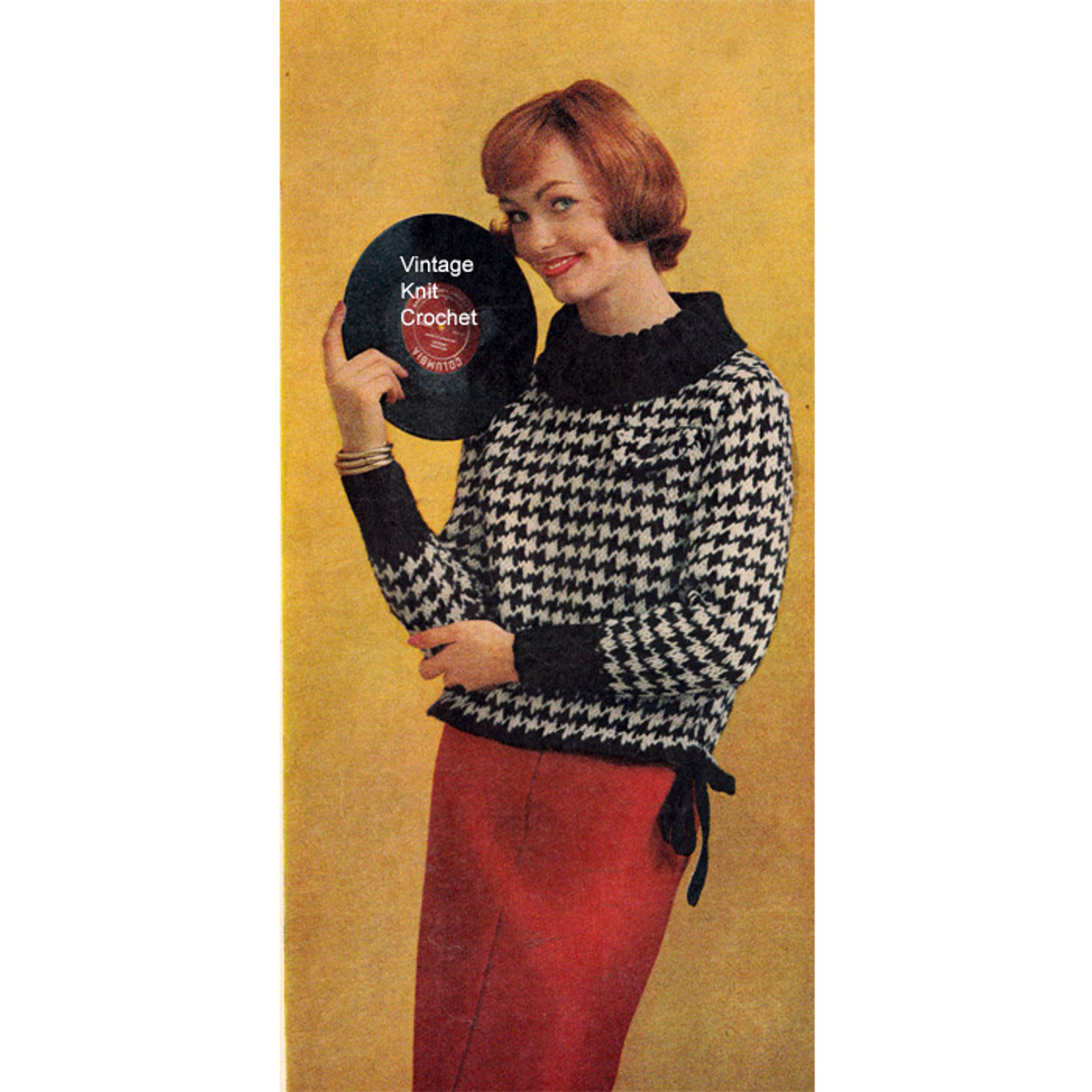 Vintage Knitted Check Blouse Pattern
