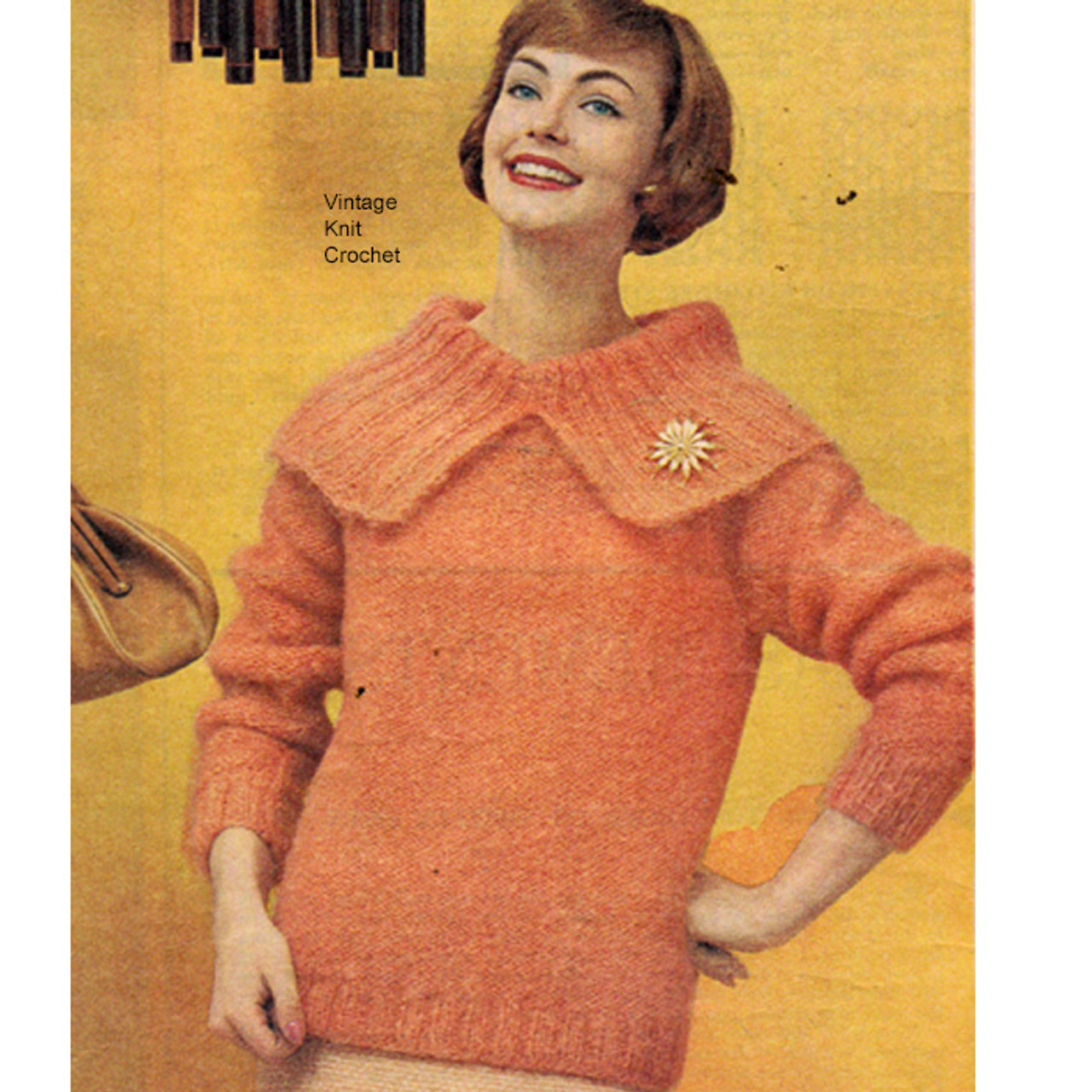 Knitted Pullover Pattern, Big Collar, 3/4 sleeves