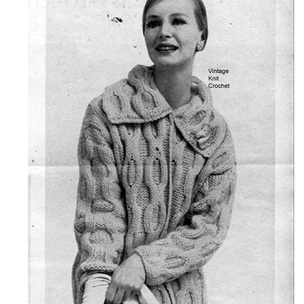 Knitted Coat Pattern, giant interlocking cables