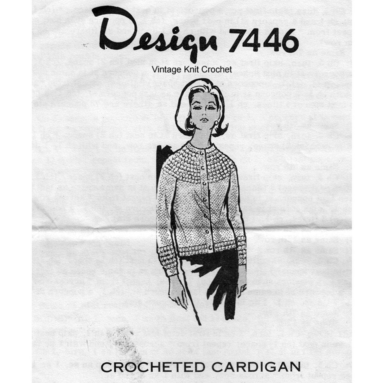 Crochet Cardigan Pattern, Popcorn Trim, Design 7446