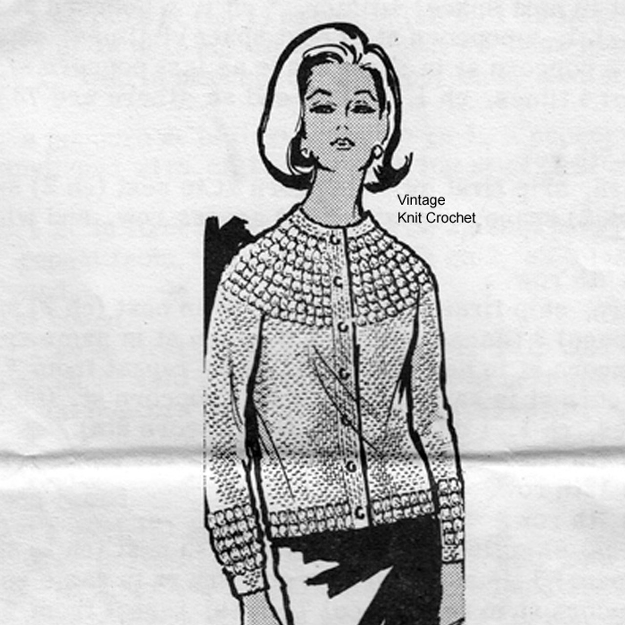 Alice Brooks 7446, Popcorn Trimmed Cardigan Pattern