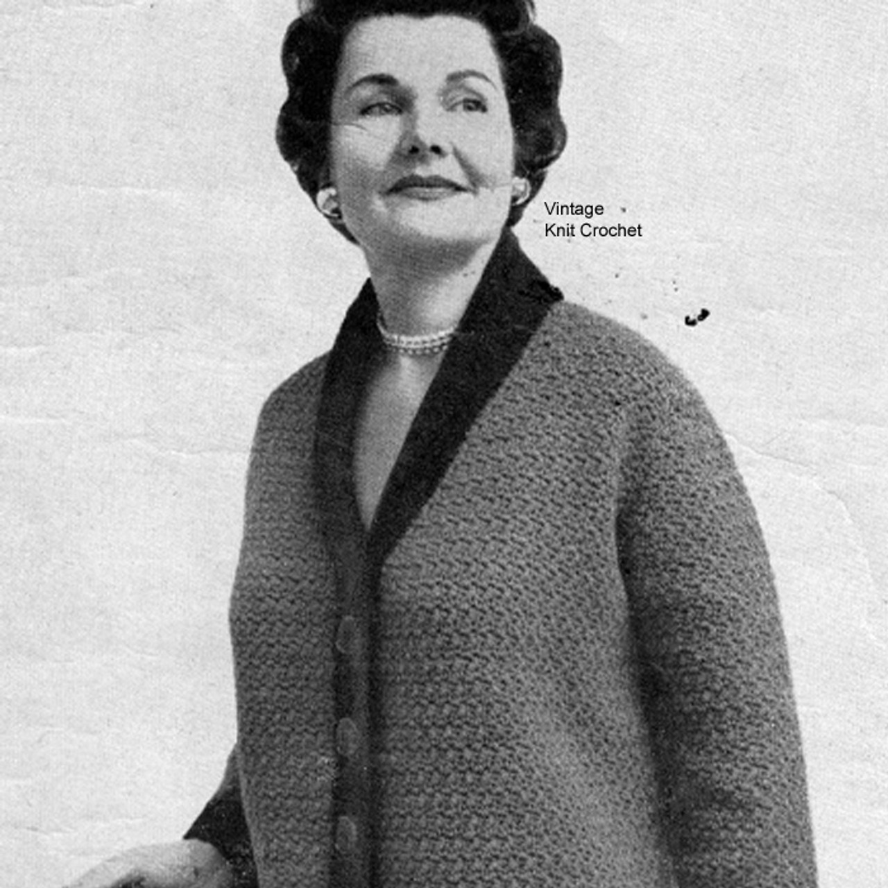 Crocheted Womans Jacket Pattern with Contrast Trim