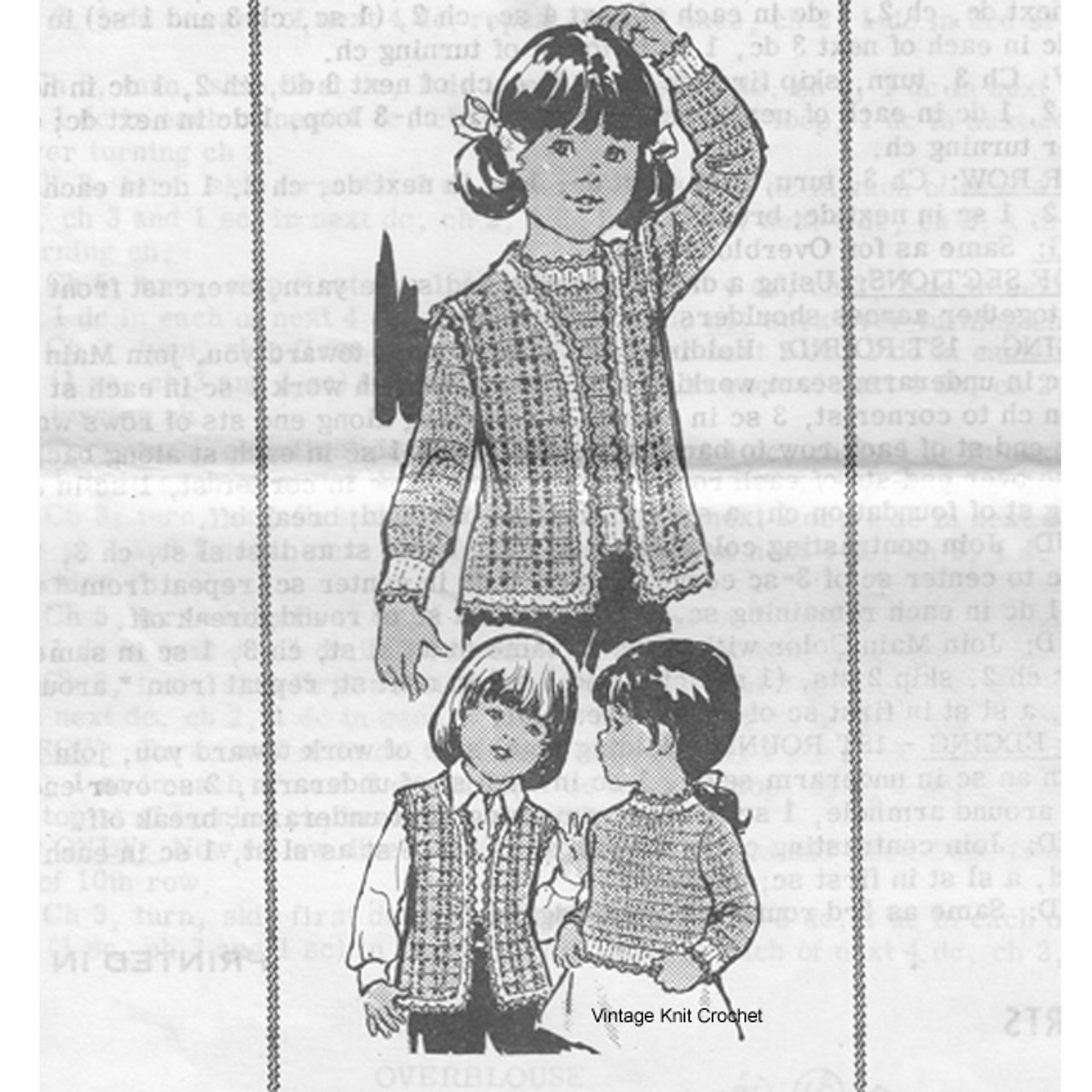 Mail Order 7471; Childs Crochet Vest and Pullover Pattern