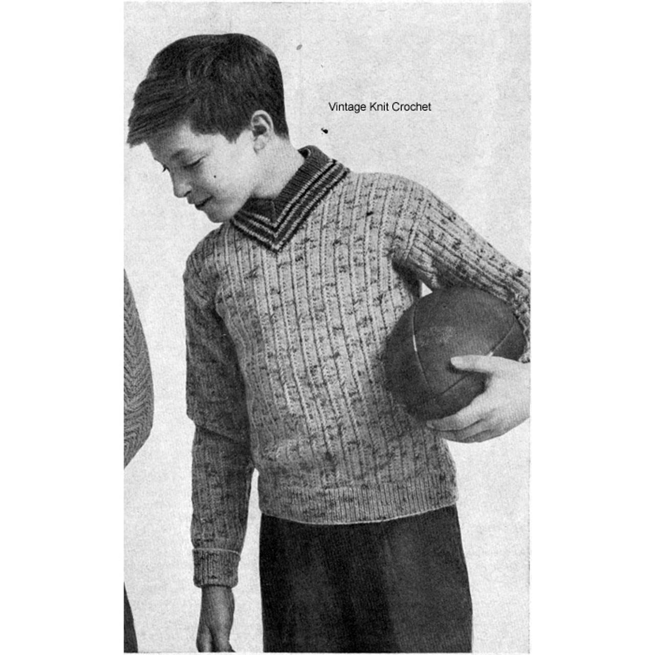 Boys Tweed Sweater Knitting Pattern