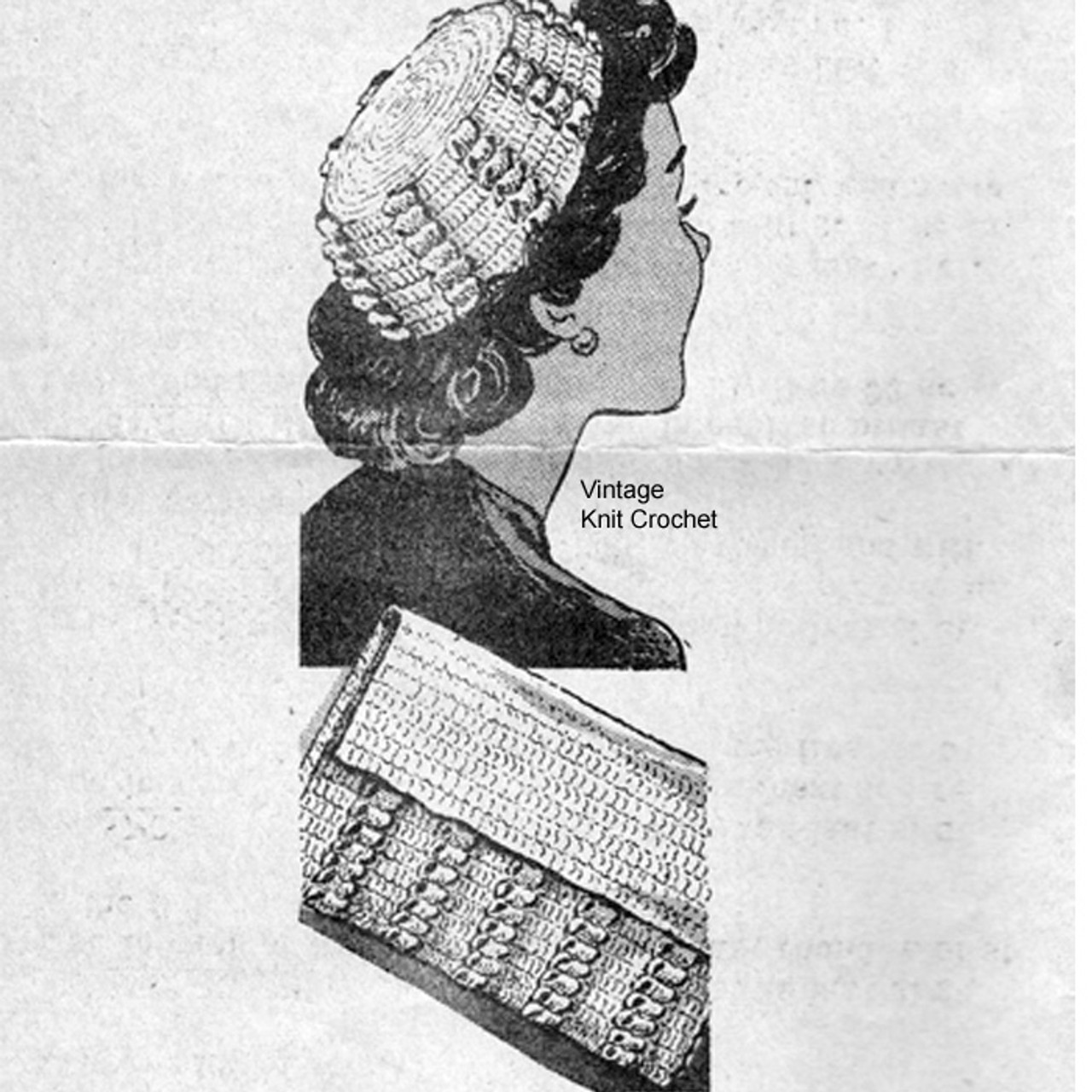 Alice Brooks 7740, Crochet Popcorn Hat Purse Pattern