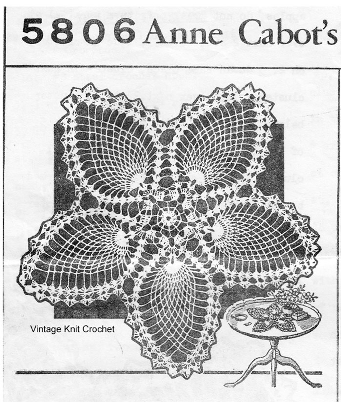 Pineapple Star Crochet Doily Pattern, Anne Cabot 5806