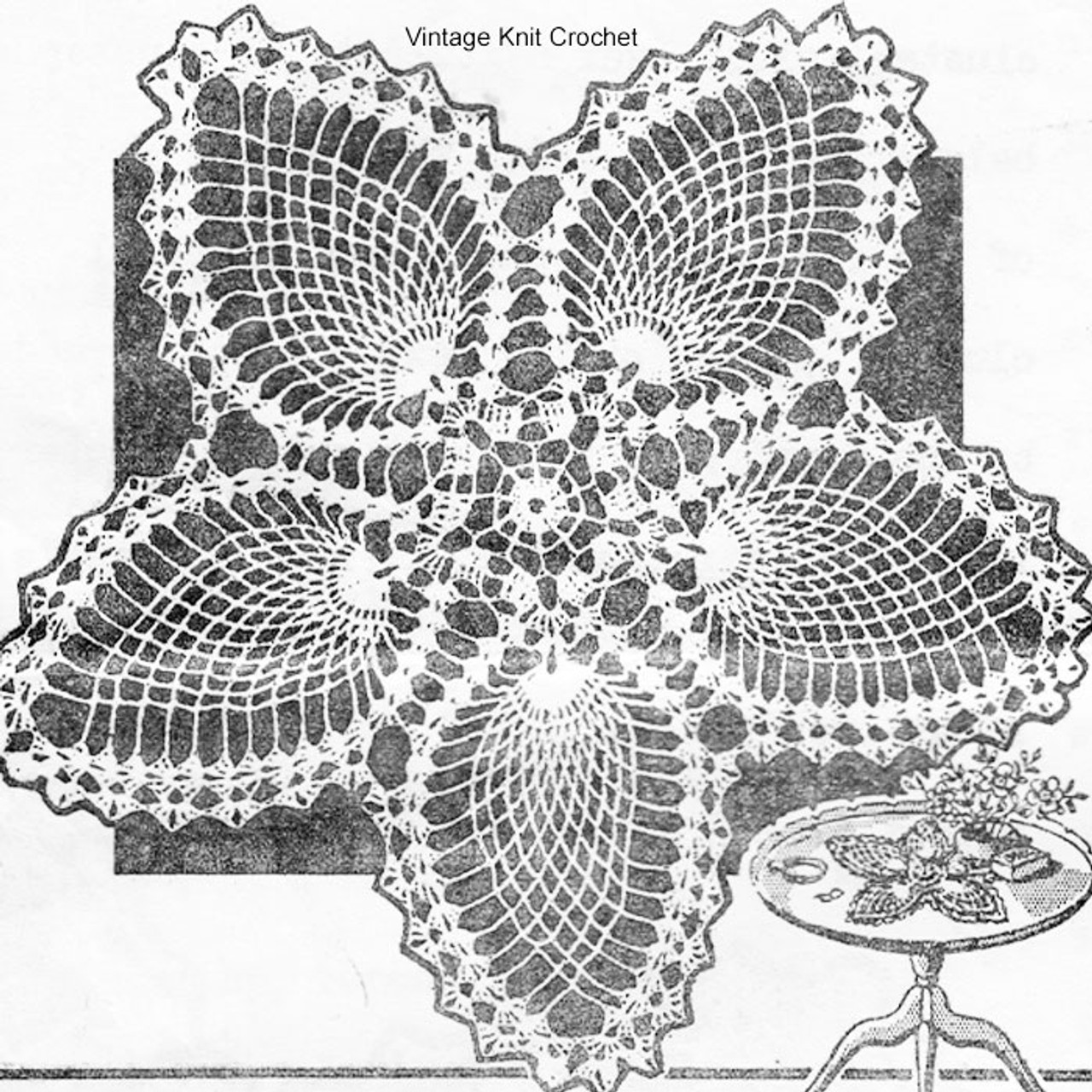 Crocheted Pineapple Star Doily Pattern No 5806