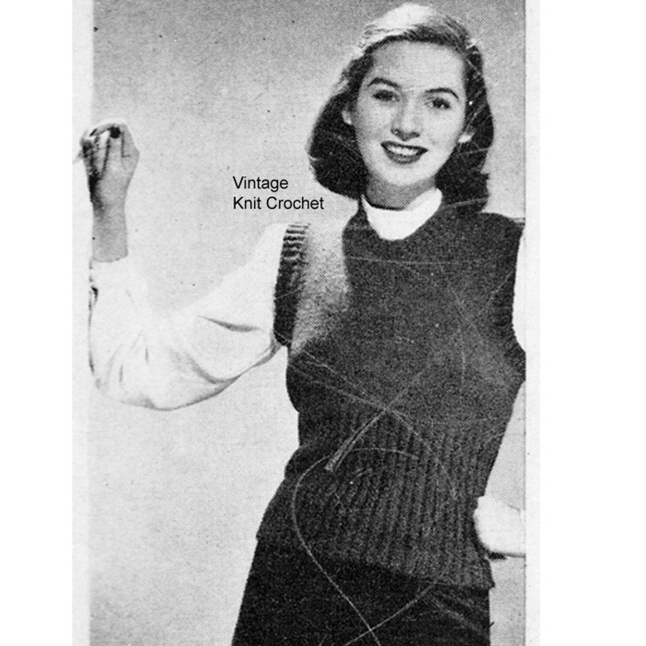 Beginners Knitted Pullover Pattern, Ribbed Sleeveless