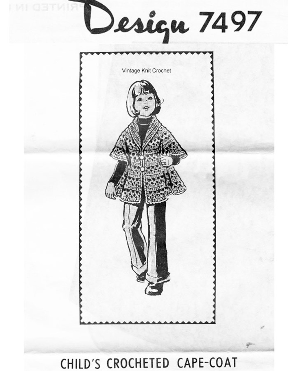 Girls crochet coat pattern, Design 7497