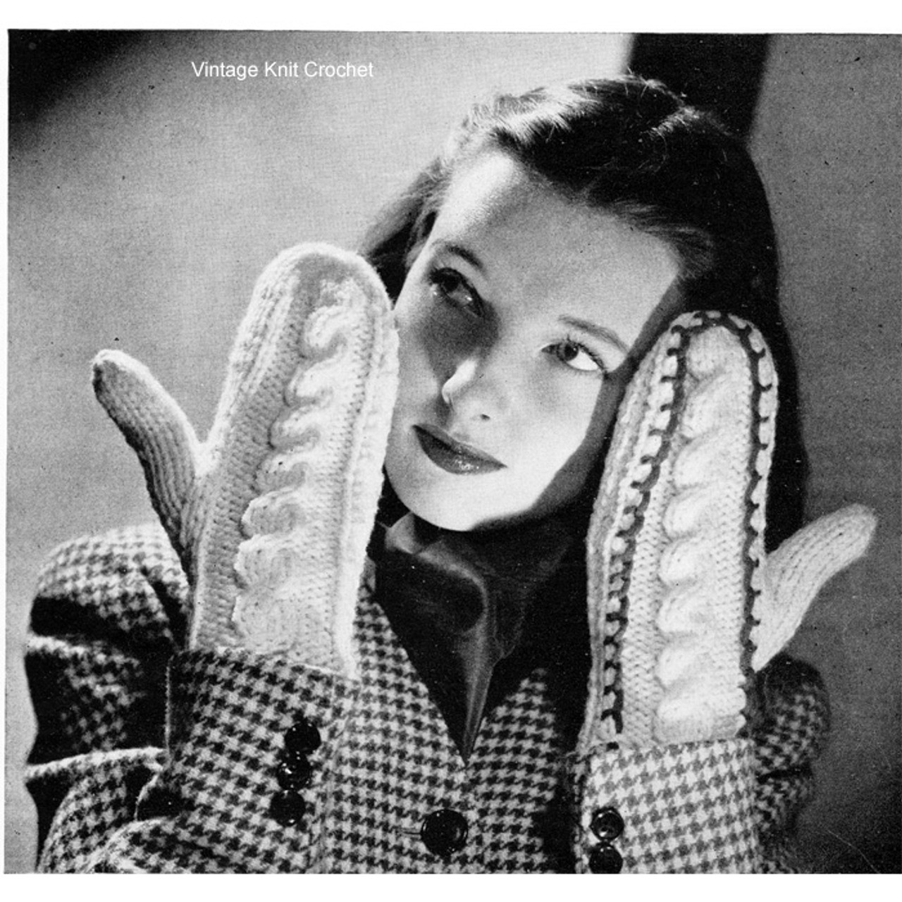 Easy Vintage Knitted Mittens Pattern