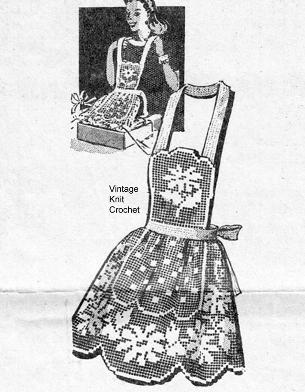 Filet Crochet Flower Apron Pattern, Mail Order 3078