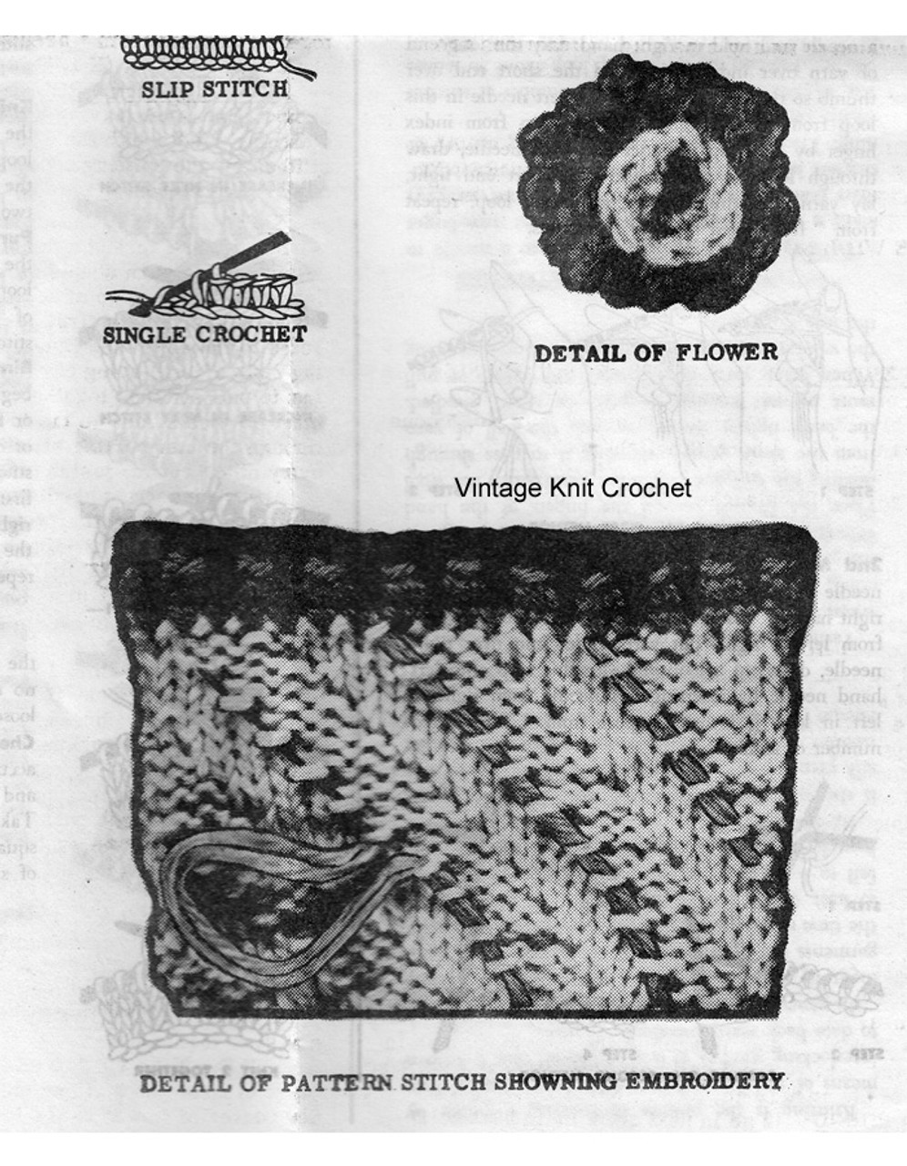 Knitted Slippers Pattern Stitch Illustration, Alice Brooks 7391