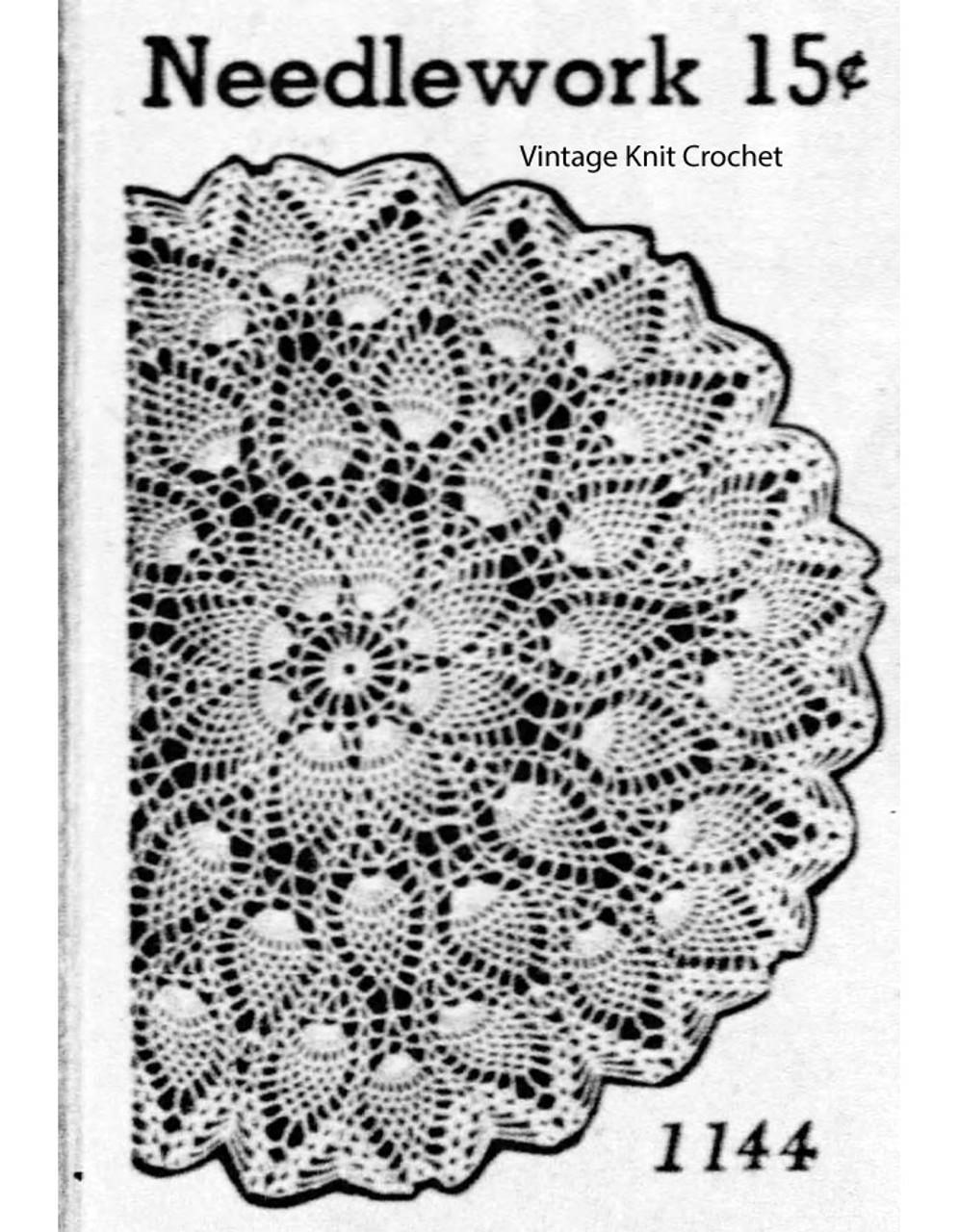 Large Pineapple Crochet Doily Pattern, Martha Madison 1144