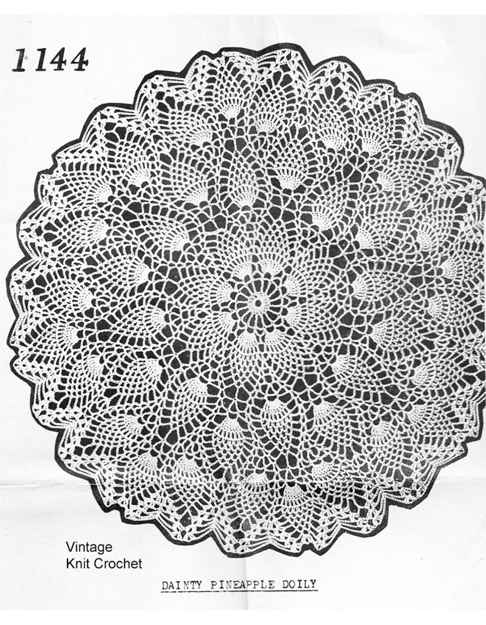 Mail Order 1144, Crochet Pineapple Dainty Doily Pattern