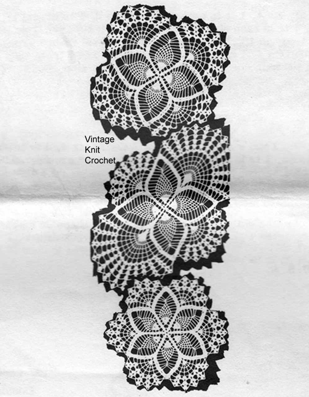 Vintage Crocheted Pineapple Doilies, Mail Order Design 699