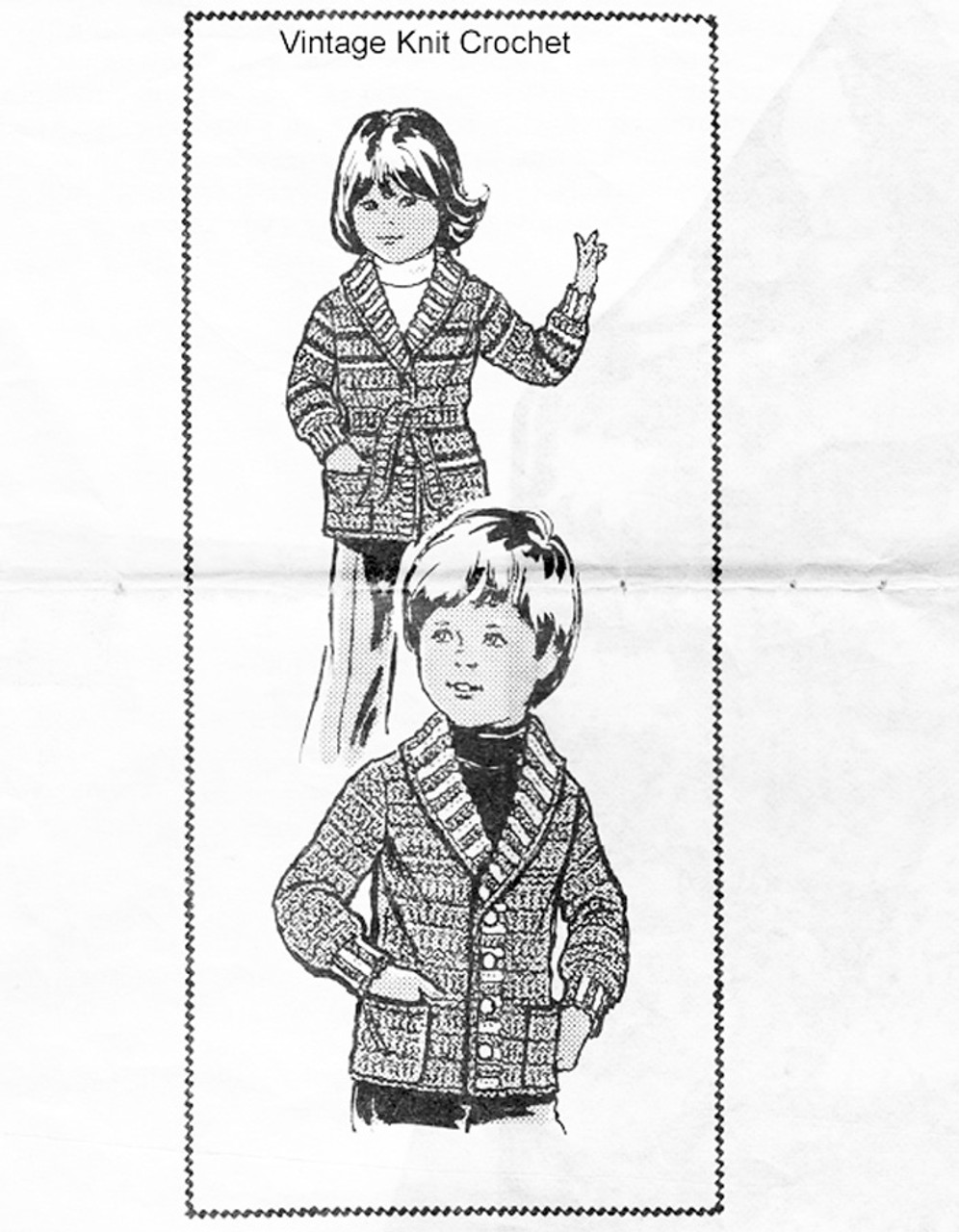 Boys Crochet Jacket Pattern, Mail Order 854