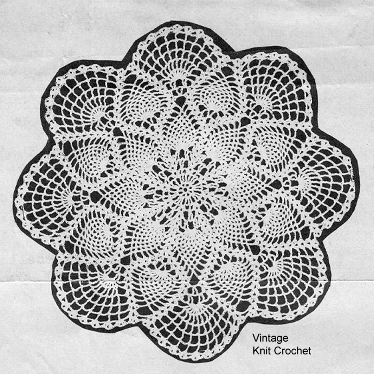 Round Crocheted Pineapple Doily Pattern, Mail Order 1250