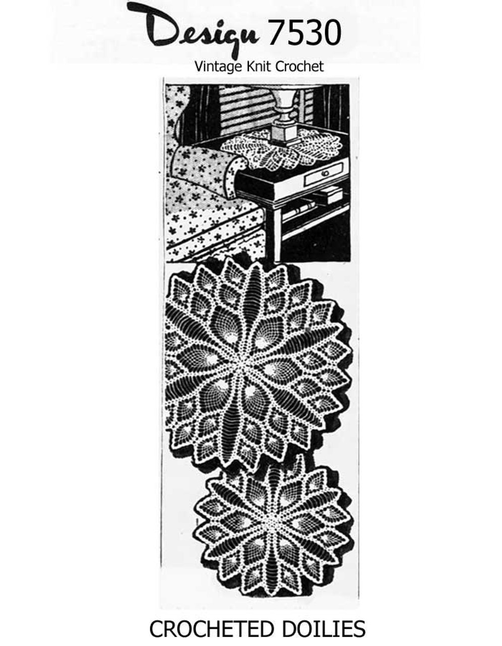 Crochet Pineapple Luncheon Set Pattern, Design 7530, Alice Brooks