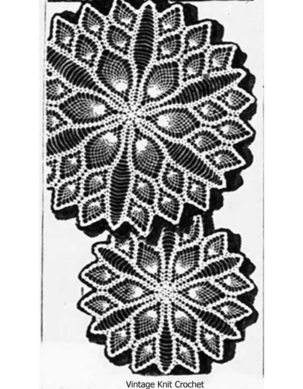 Vintage Large Small Crochet Pineapple Doilies Pattern Design 7530