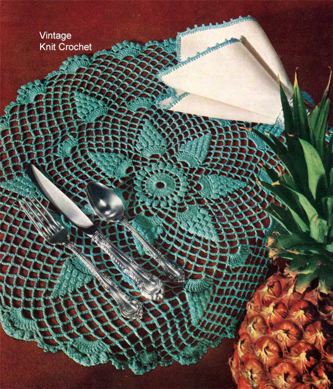 Crochet Pineapple Mats Pattern, Luncheon Set
