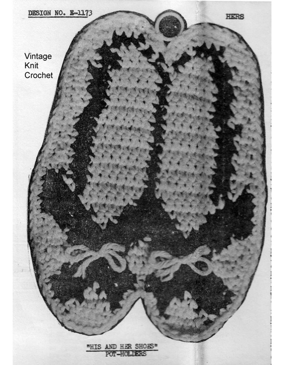 Crochet Shoe Potholders Pattern - Hers