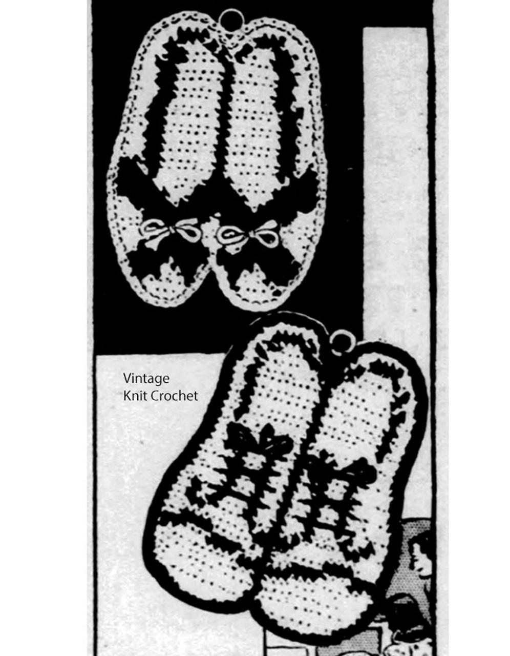 Crochet Potholders Pattern, His Hers Shoes, Needlework Bureau E1173