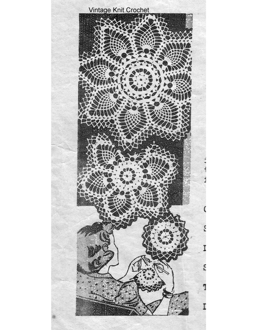 Vintage Crochet Pineapple Doilies Pattern, Alice Brooks 7389