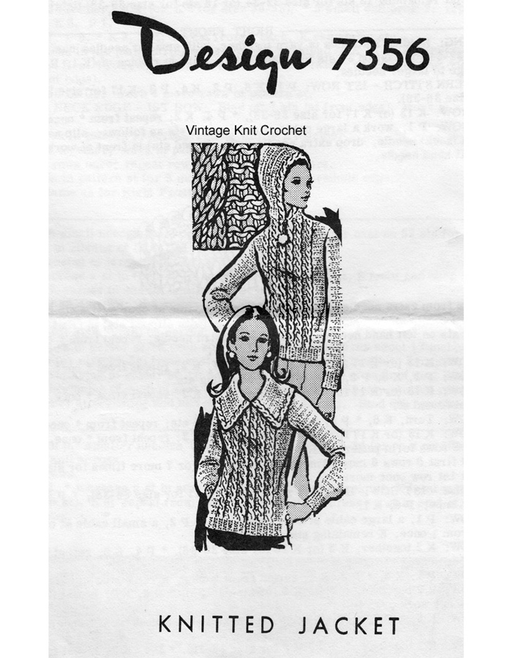 Knitted Hoodie Pattern, Cable Stitch, Mail Oder 7356