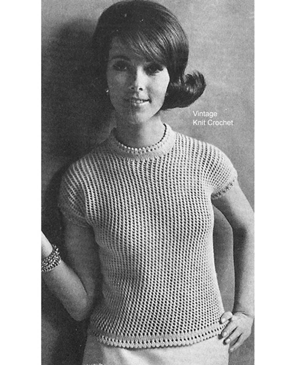 Trellis Stitch Top Knitting Pattern, Vintage 1960s