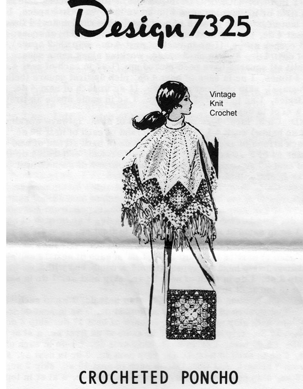 Crochet Poncho Pattern, Granny Squares, Mail Order 7325