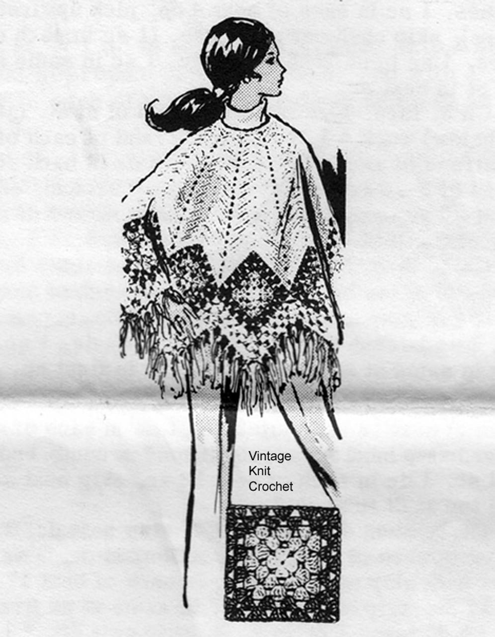Granny square crochet poncho pattern, Alice Brooks 7325