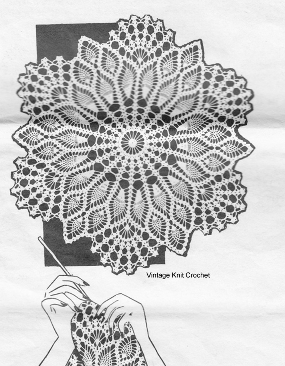 Pineapple Crochet Centerpiece Doily Pattern, Alice Brooks 7327