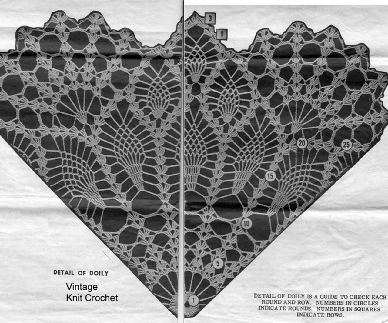 Pineapple Doily Pattern Stitch Illustration, Mail Order 7327
