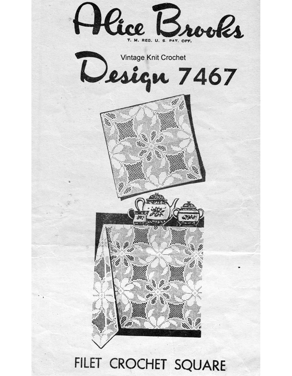 Large Filet Crochet Square Pattern, Flower, Mail Order 7467