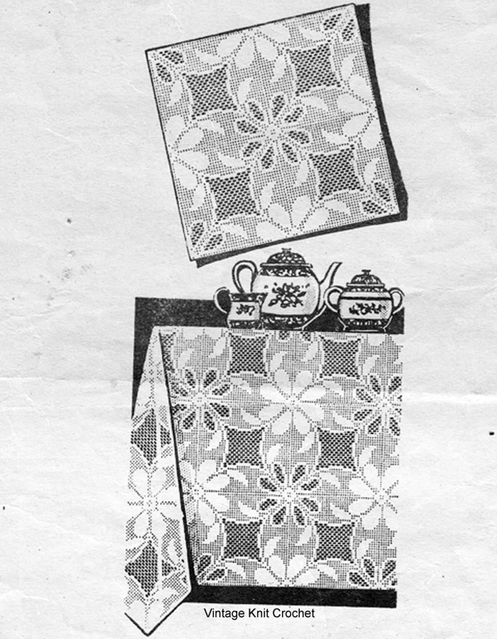 Filet Crochet Tablecloth Pattern, Alice Brooks 7467.