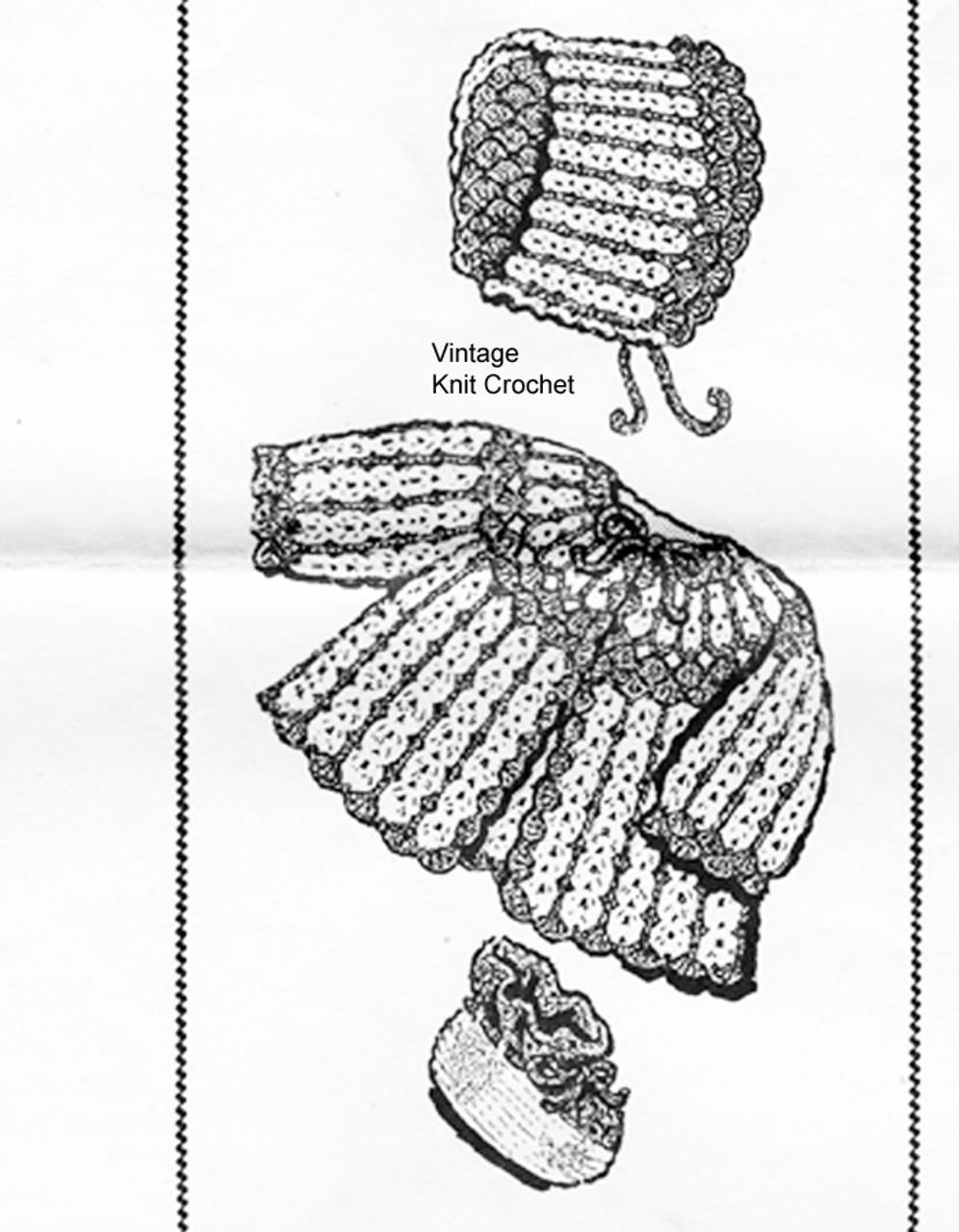Crochet Jacket, Booties, Bonnet Pattern, Mail Order 7390