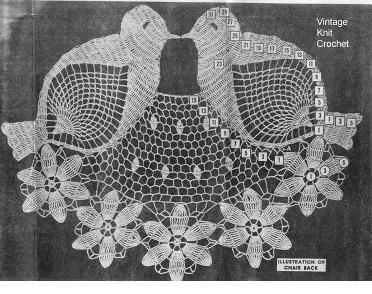 Bluebird crochet pattern stitch illustration, American Weekly 3164