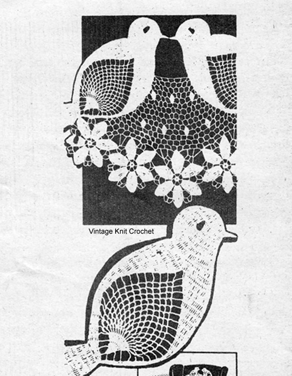 American Weekly 3164, Crochet lovebirds doily pattern