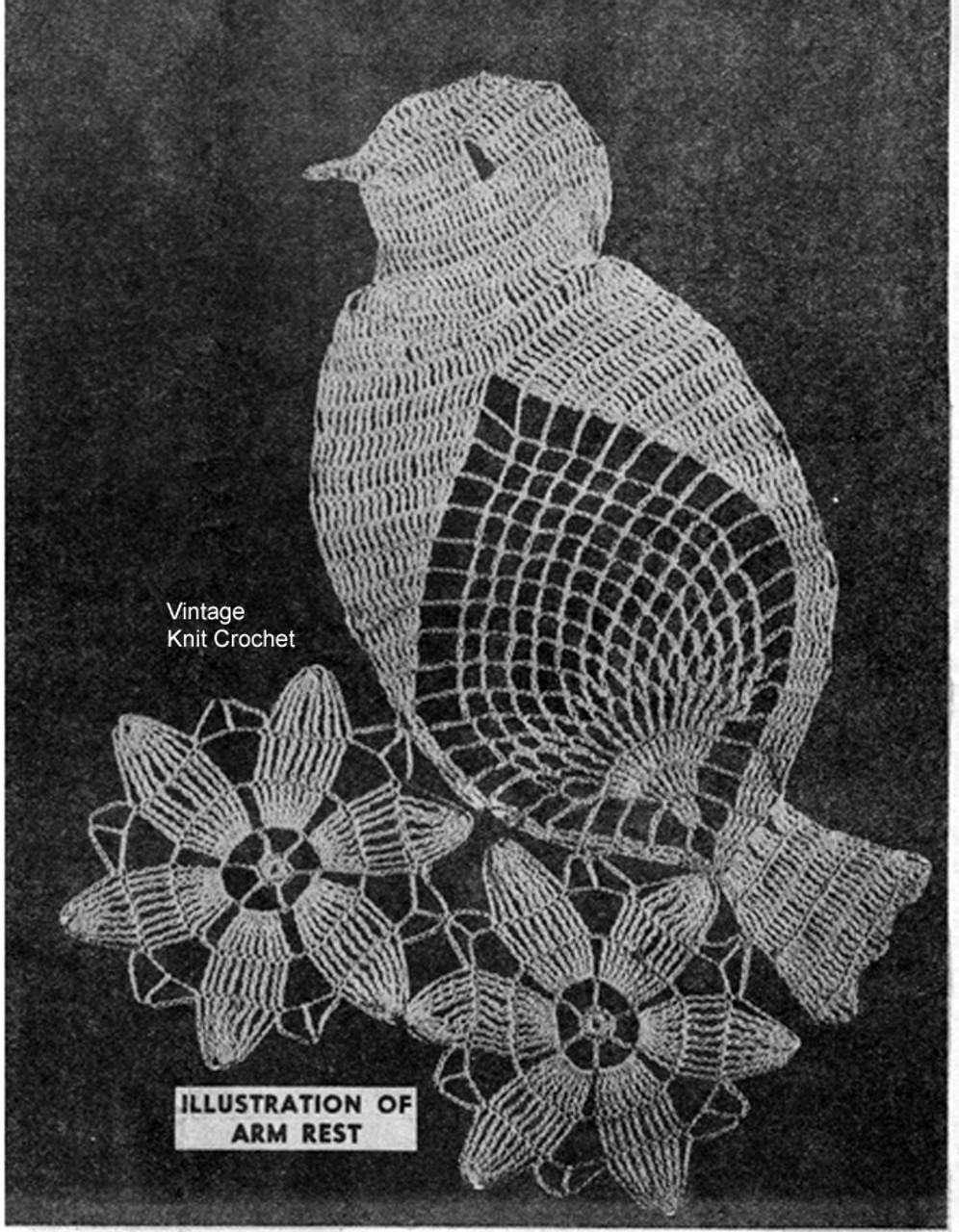 Daisy Bird Crochet Pattern Stitch Illustration, Mail Order 3164