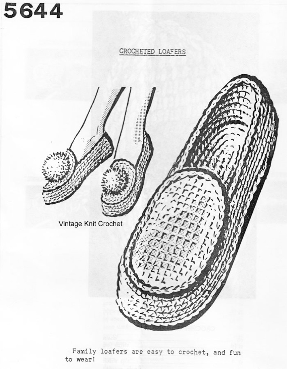 Crocheted Loafers Pattern, Men Women, Anne Cabot 5644