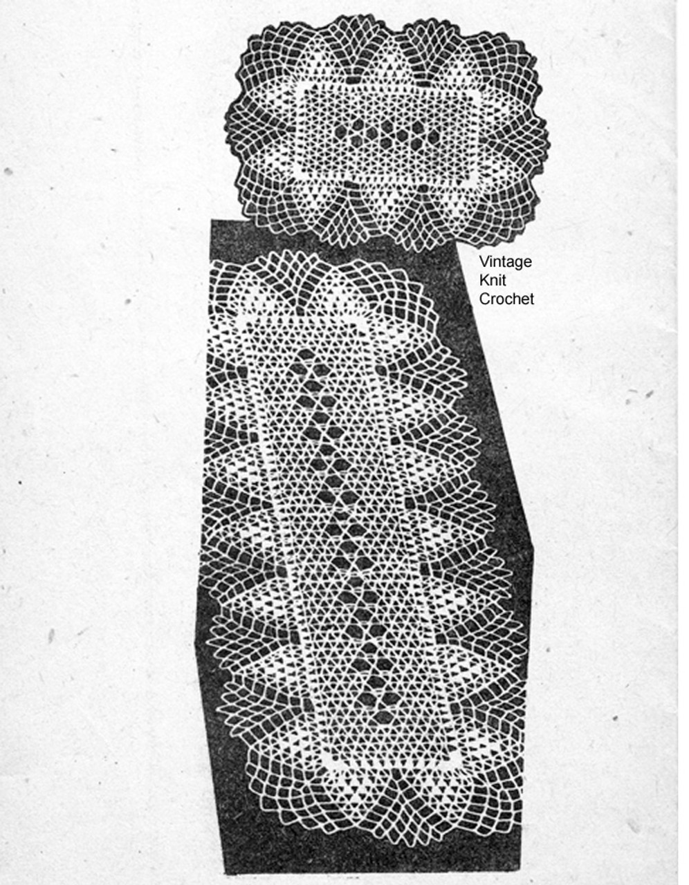 Mail Order Pineapple Scarf & Mats Pattern, Alice Brooks 7313