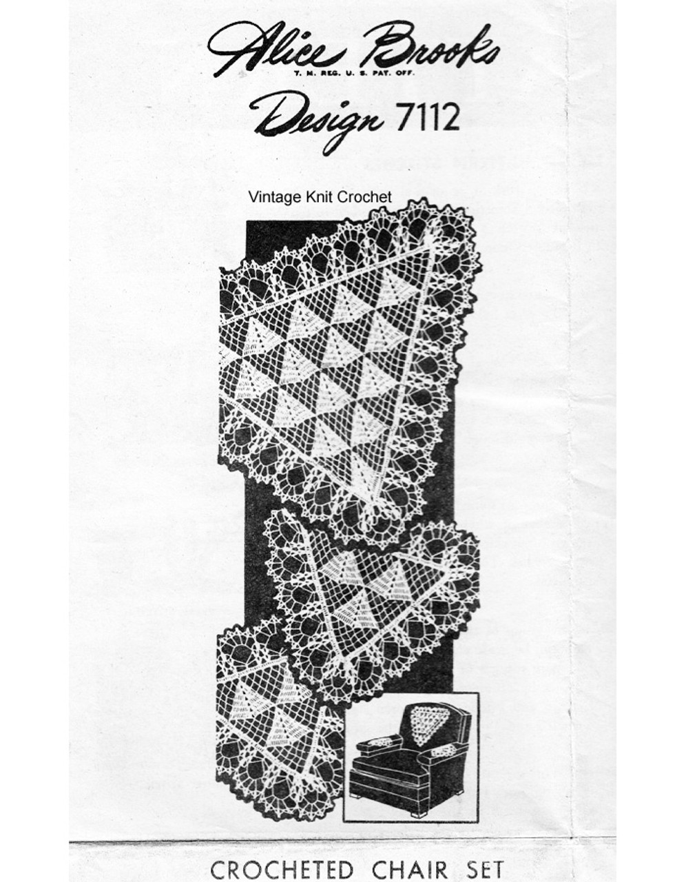 Triangle Crochet Chair Set Pattern, Mail Order 7112