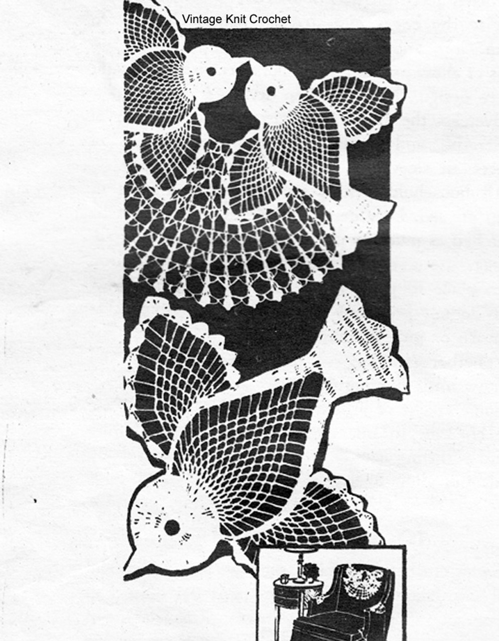 Crochet Birds Chair Doily Pattern, Mail Order 886