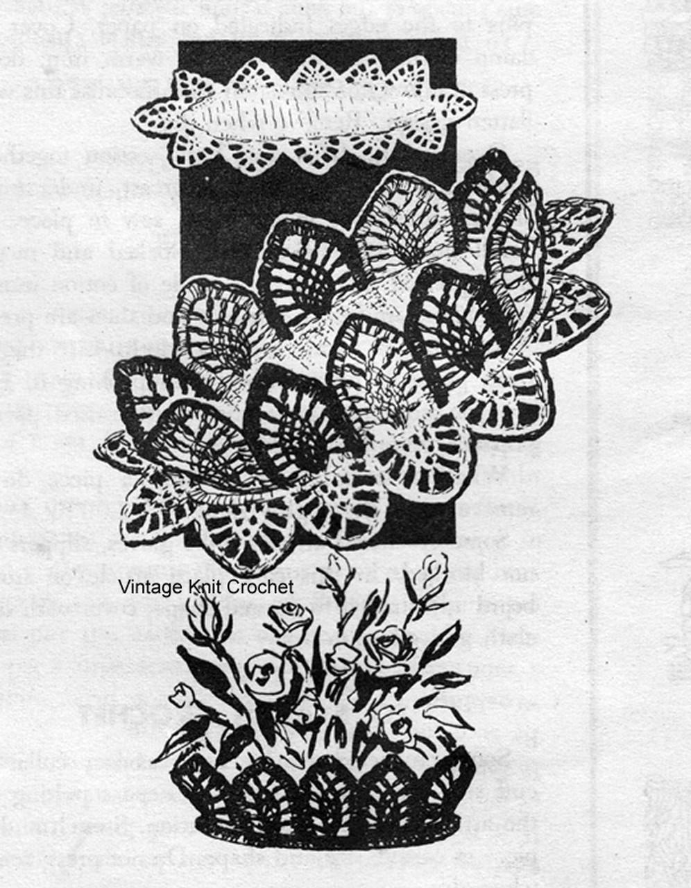 Doily Bowl Crochet pattern in Pineapple Stitch, Alice Brooks 7308