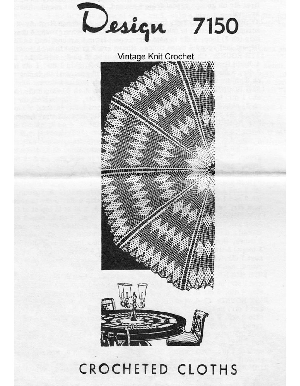 Round Diamond Crochet Cloth pattern, Mail order 7150