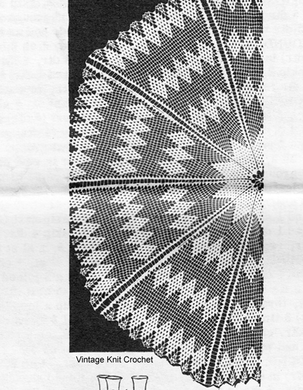 Large Round Crochet Tablecloth Pattern, Design 7150