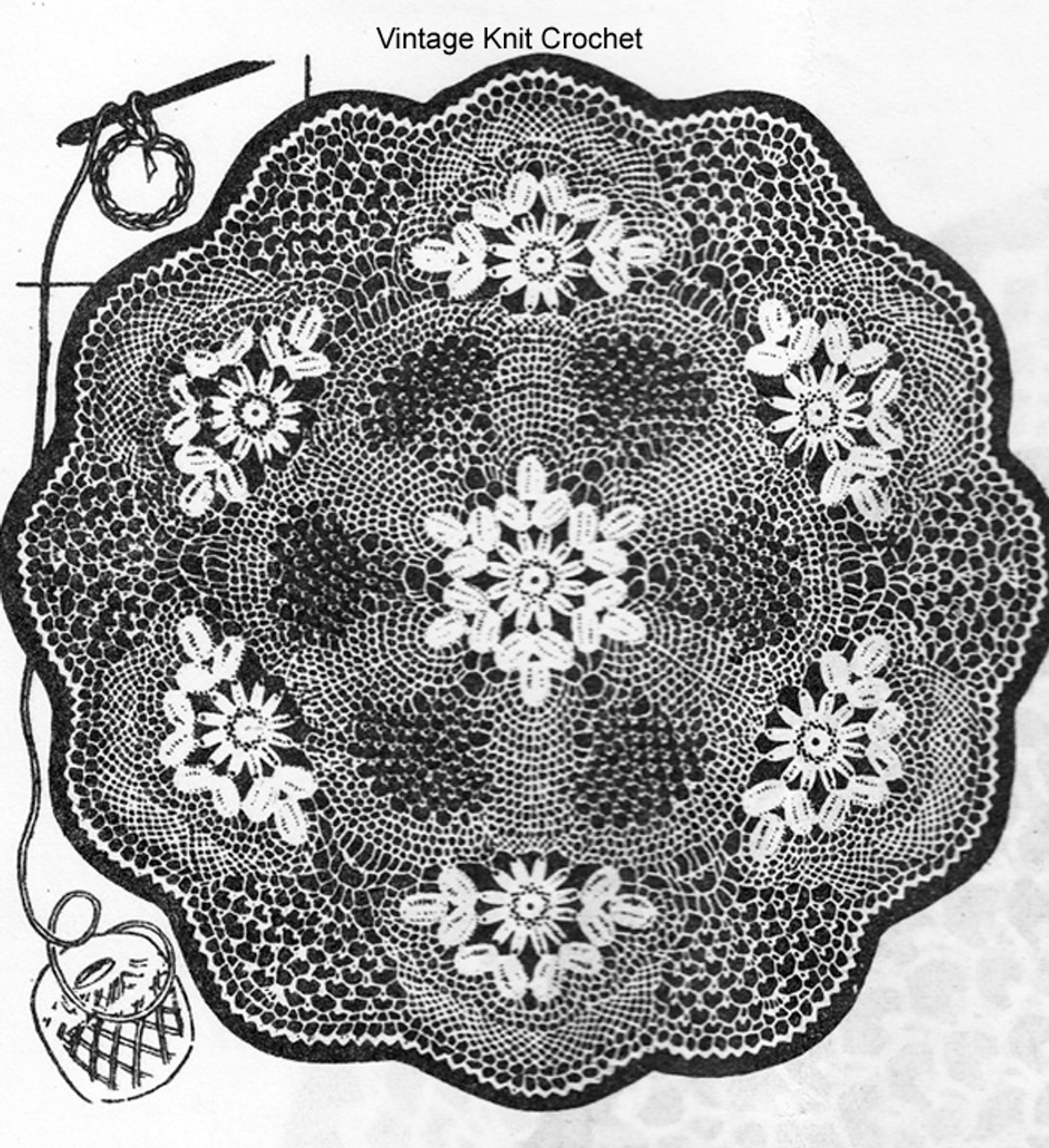 Floral Wheel crochet doily Pattern, Anne Cabot 2086