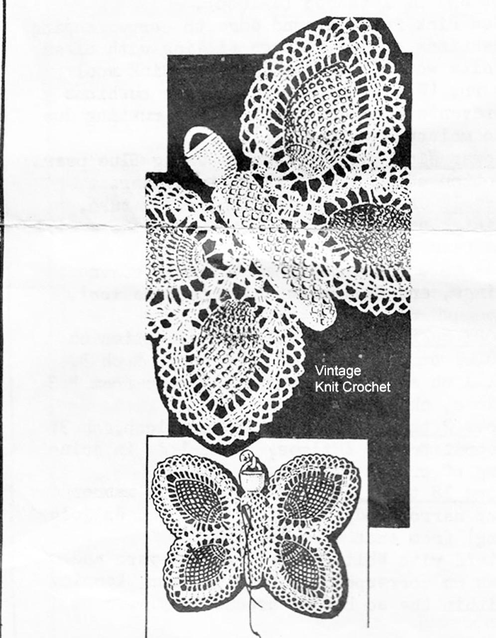 Crochet Butterfly Pincushion Pattern, Anne Cabot 5702