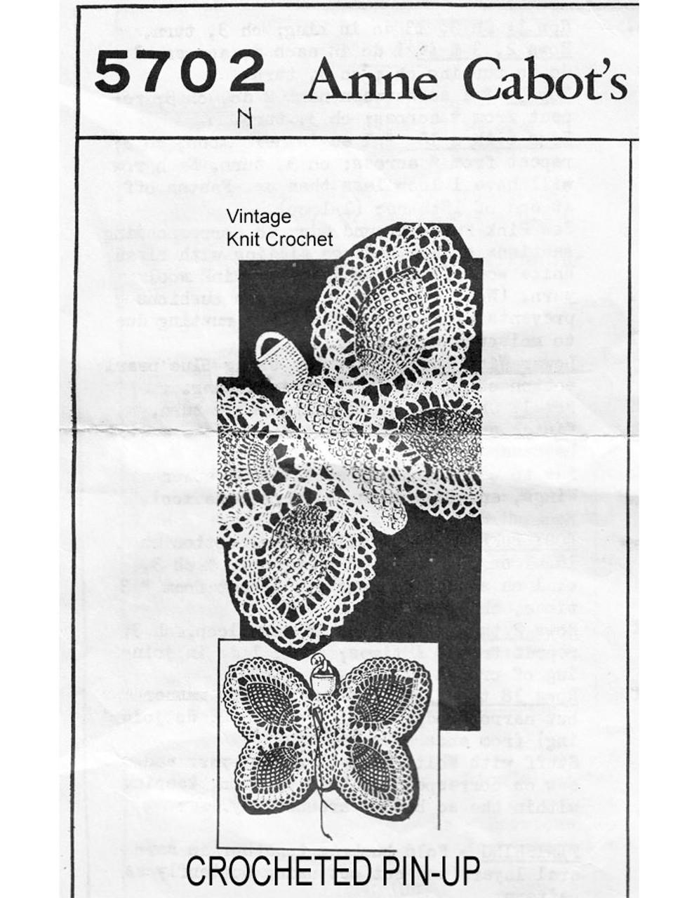 Pineapple Butterfly Pincushion Crochet Pattern No 5702