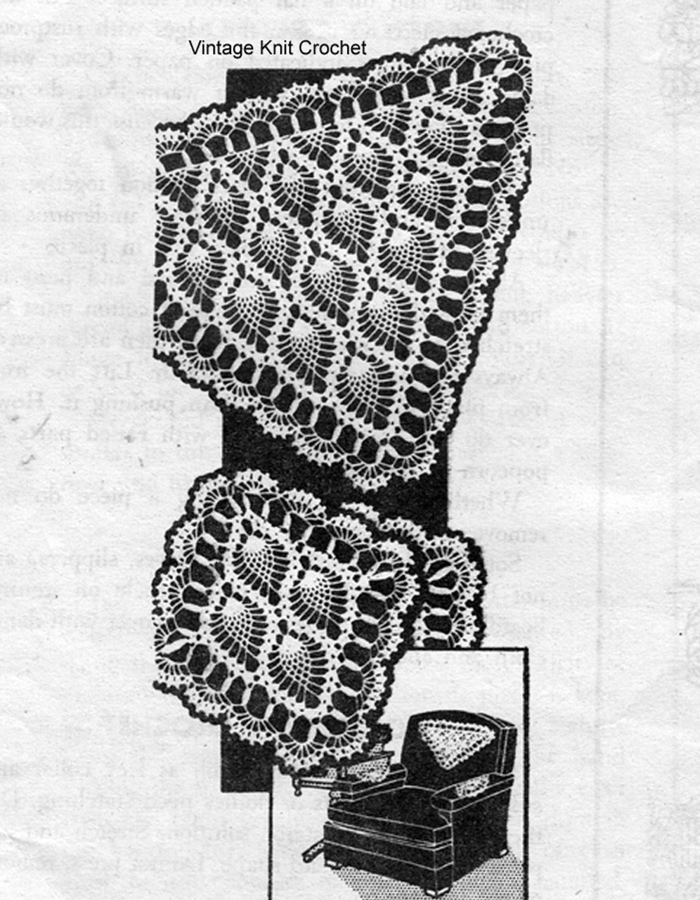 Triangle Shaped Crochet Chair Doily Pattern, Laura wheeler 937